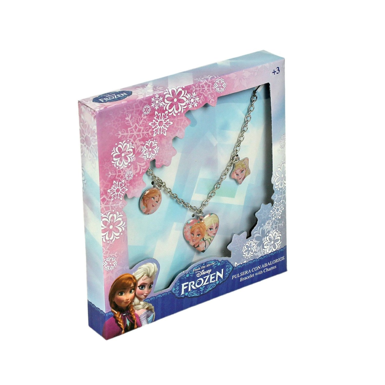 Frozen - Pulsera metalica con 3 charms en caja de frozen