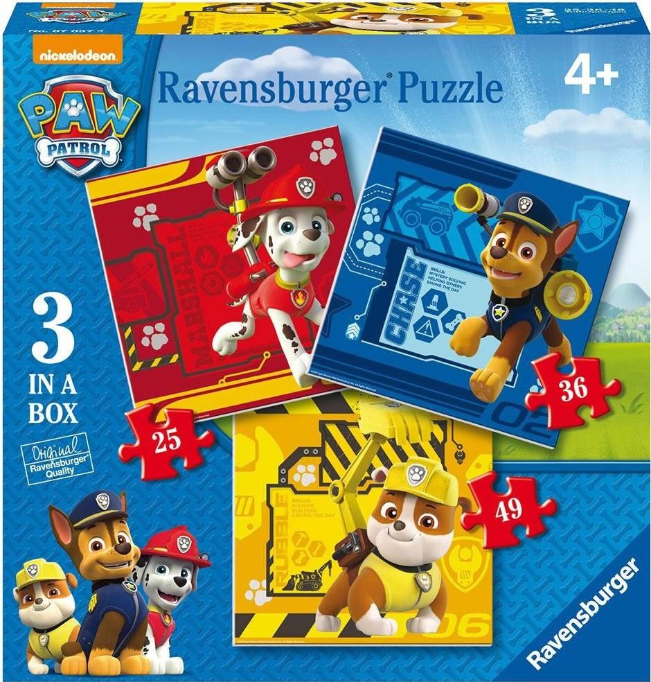 PUZZLE PATRULLA CANINA 3 IN A BOX. 25-36-49 piezas
