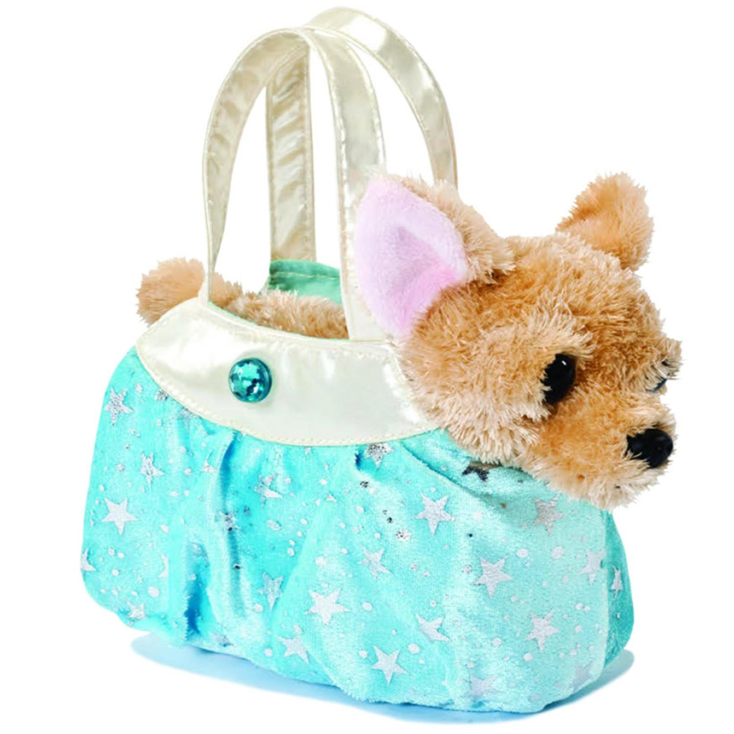 Fancy Pals - Perro Chihuahua Shimmery Ice Blue de peluche, 20 cm, color marrón y azul (Aurora World