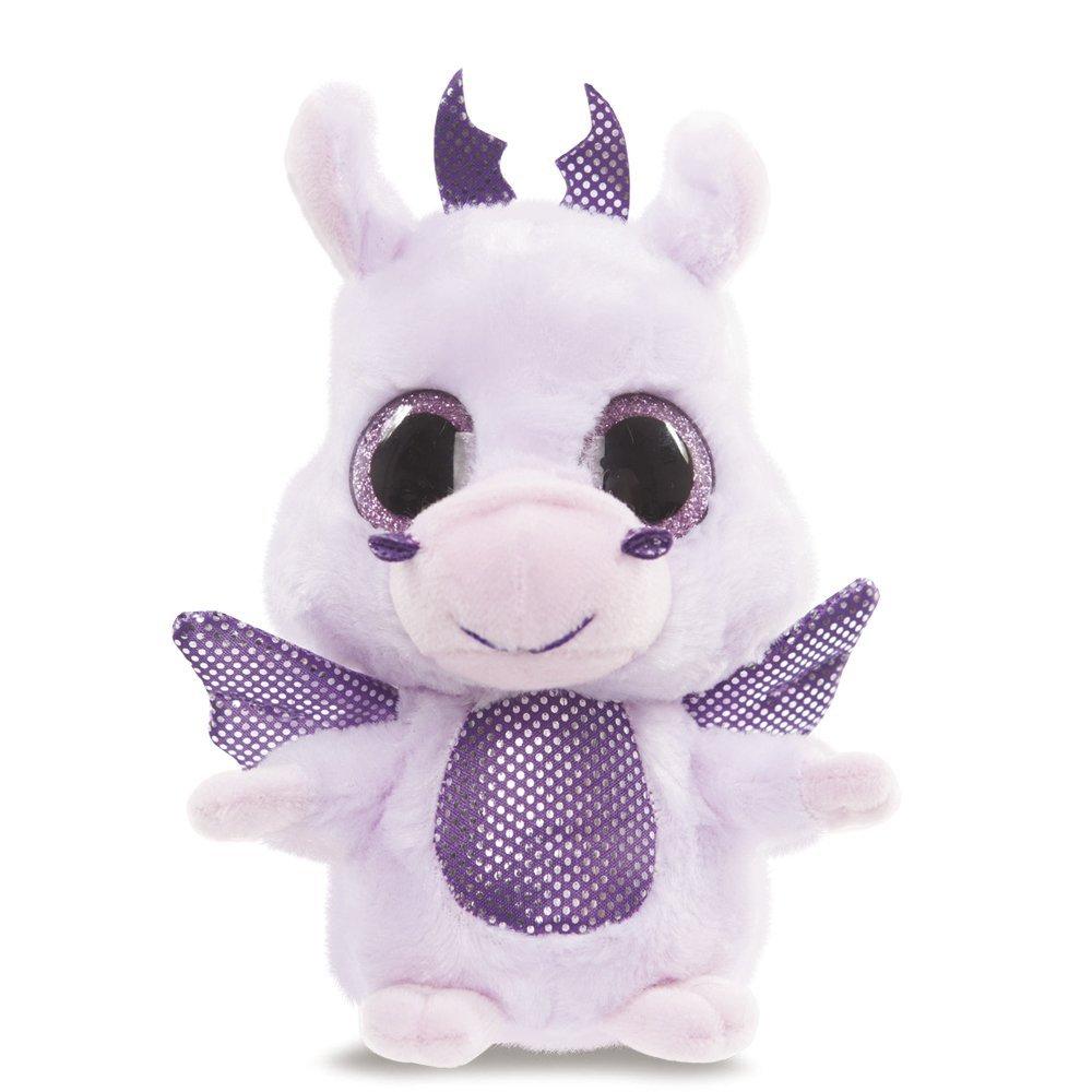 YooHoo & Friends - Peluche con ojos brillantes Dragon, 13 cm, color lila (Aurora World 60335)