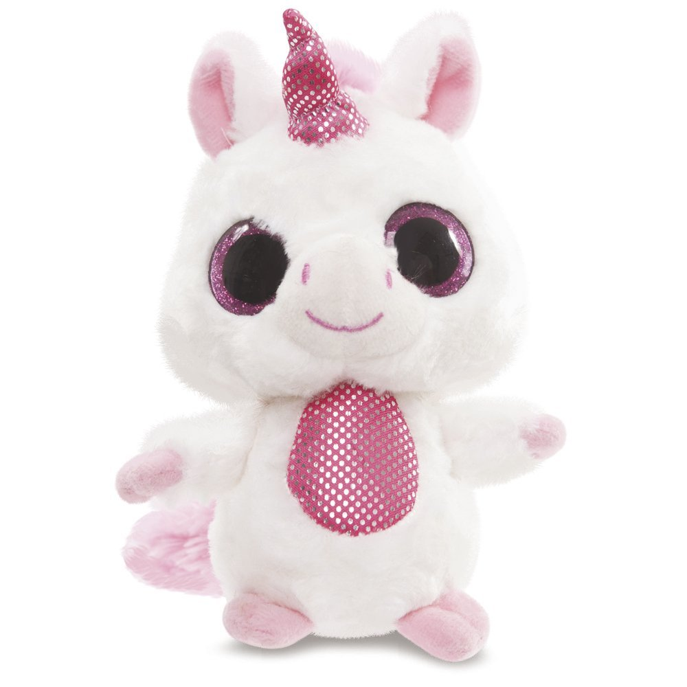YooHoo & Friends - Peluche con ojos brillantes Unicorn, 13 cm, color rosa (Aurora World 60336)