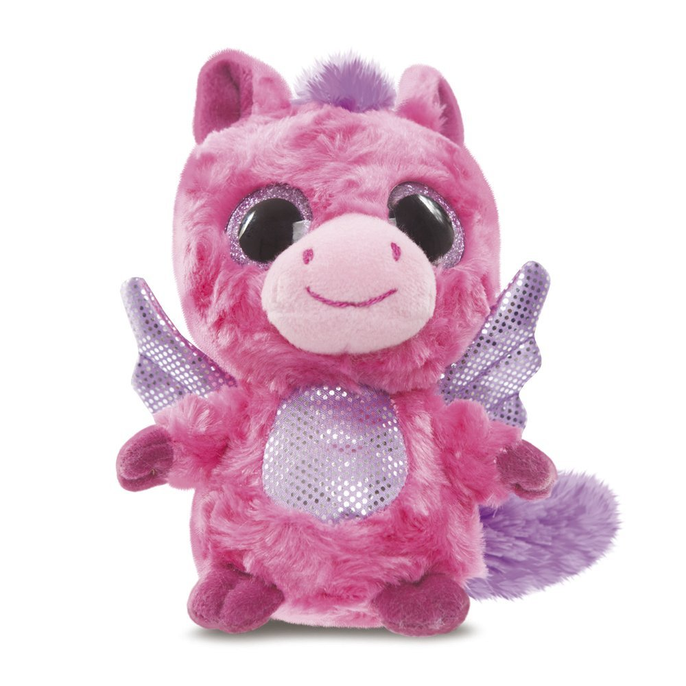 YooHoo & Friends - Peluche con ojos brillantes Pegasus, 13 cm, color rosa (Aurora World 60338)