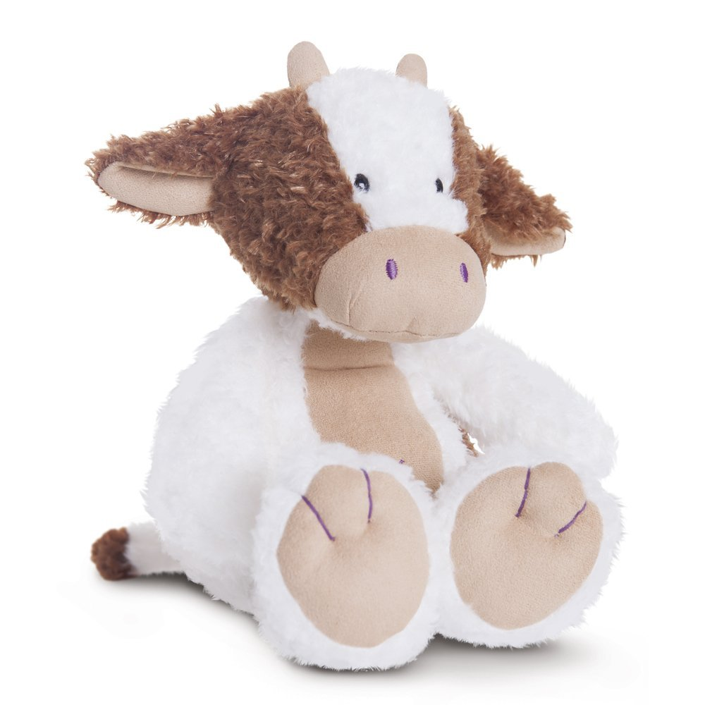 Vaca de peluche 30 cm blanco y marrón