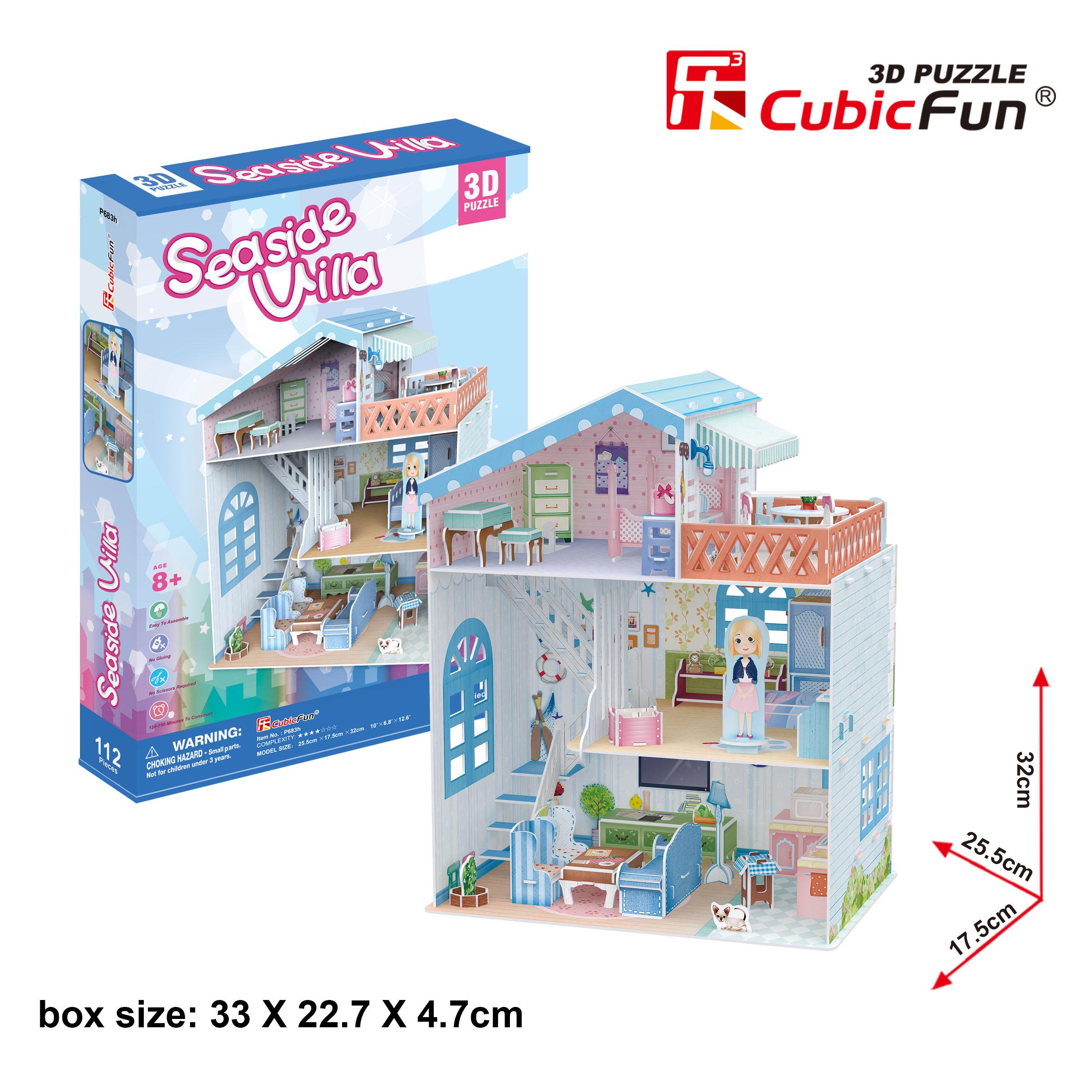 Puzzle 3D Casa de Muñecas Seaside Villa 112 piezas