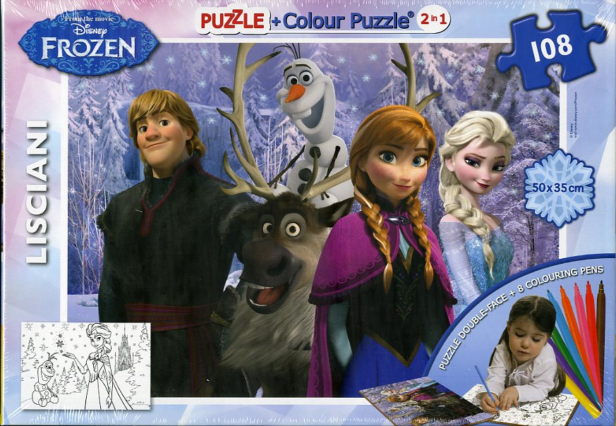 PUZZLE+PUZZLE COLOREABLE + 8 ROTULADORES FROZEN 108PIEZAS