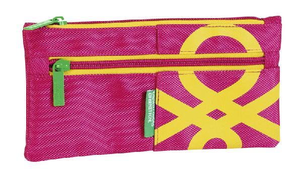 Portatodos dos cremalleras Benetton Pink 220x110 mm