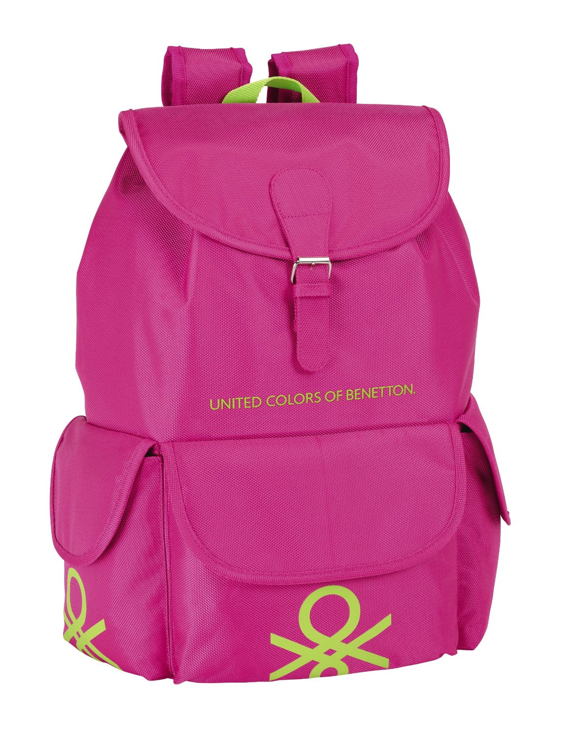 Benetton - Mochila con solapa, color rosa