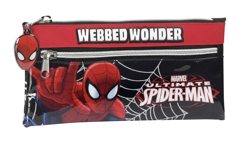 Spider-Man - Portatodo con dos cremalleras, 22 x 11 cm