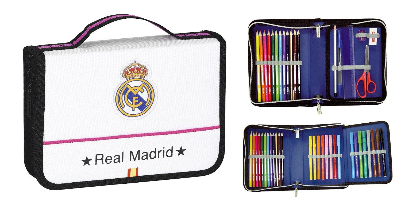 Safta - Maletín de dibujo Real Madrid, 34 piezas, 22 x 15 x 5 cm