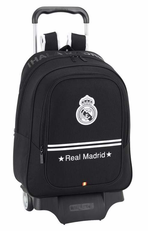 Real Madrid - Mochila carro grande, 33 x 43 cm, color negro