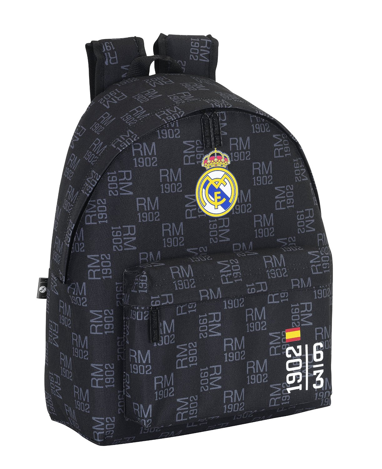 Real Madrid - Mochila estampada, 32 x 40 cm, color negro