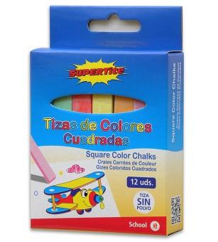 TIZAS COLORES CUADRADAS 12 UDS