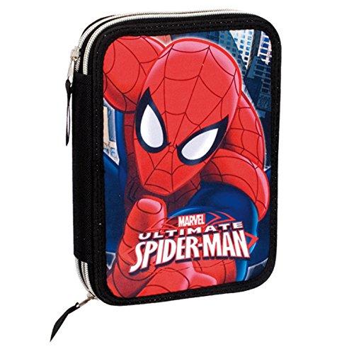Spiderman - Plumier 12 doble, color rojo y azul