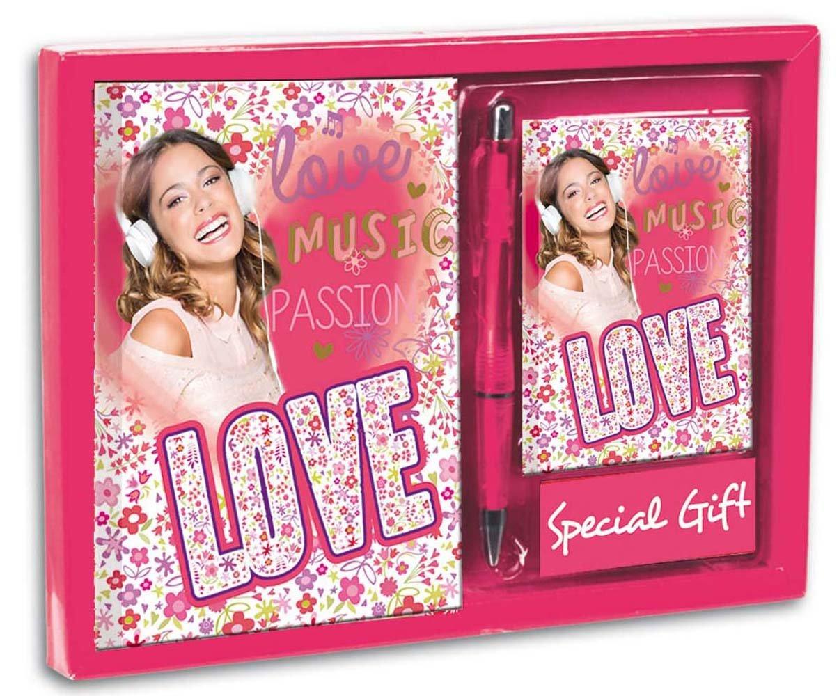 Violetta - Set diario + listín + bolígrafo con diseño Love, 24 x 18 cm