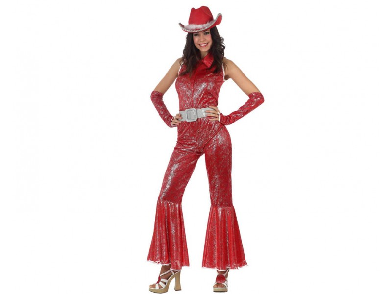 DISFRAZ DISCO WOMAN BRILLO ROJO TALLA 3.