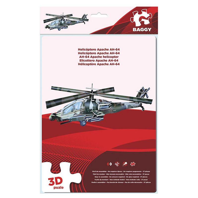 Puzzle 3D Baggy Helicoptero Apache AH-64 37pz