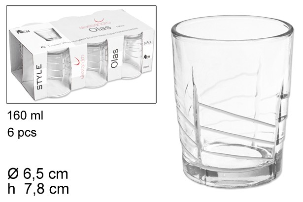 PACK VASO OLAS x6uni. 160ml