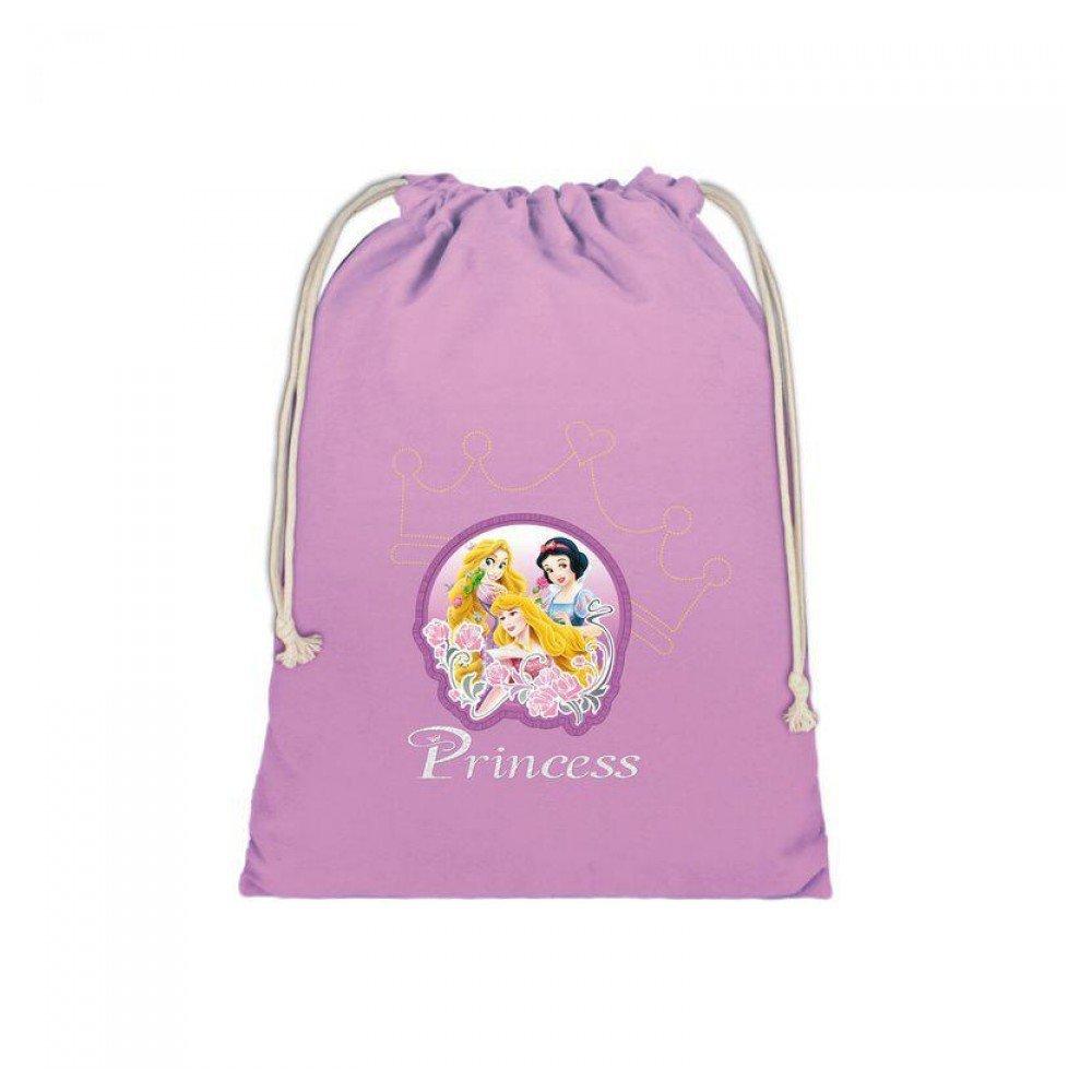 Princesas - Bolsa saquito de algodón - 24,5x30 cm de princesas