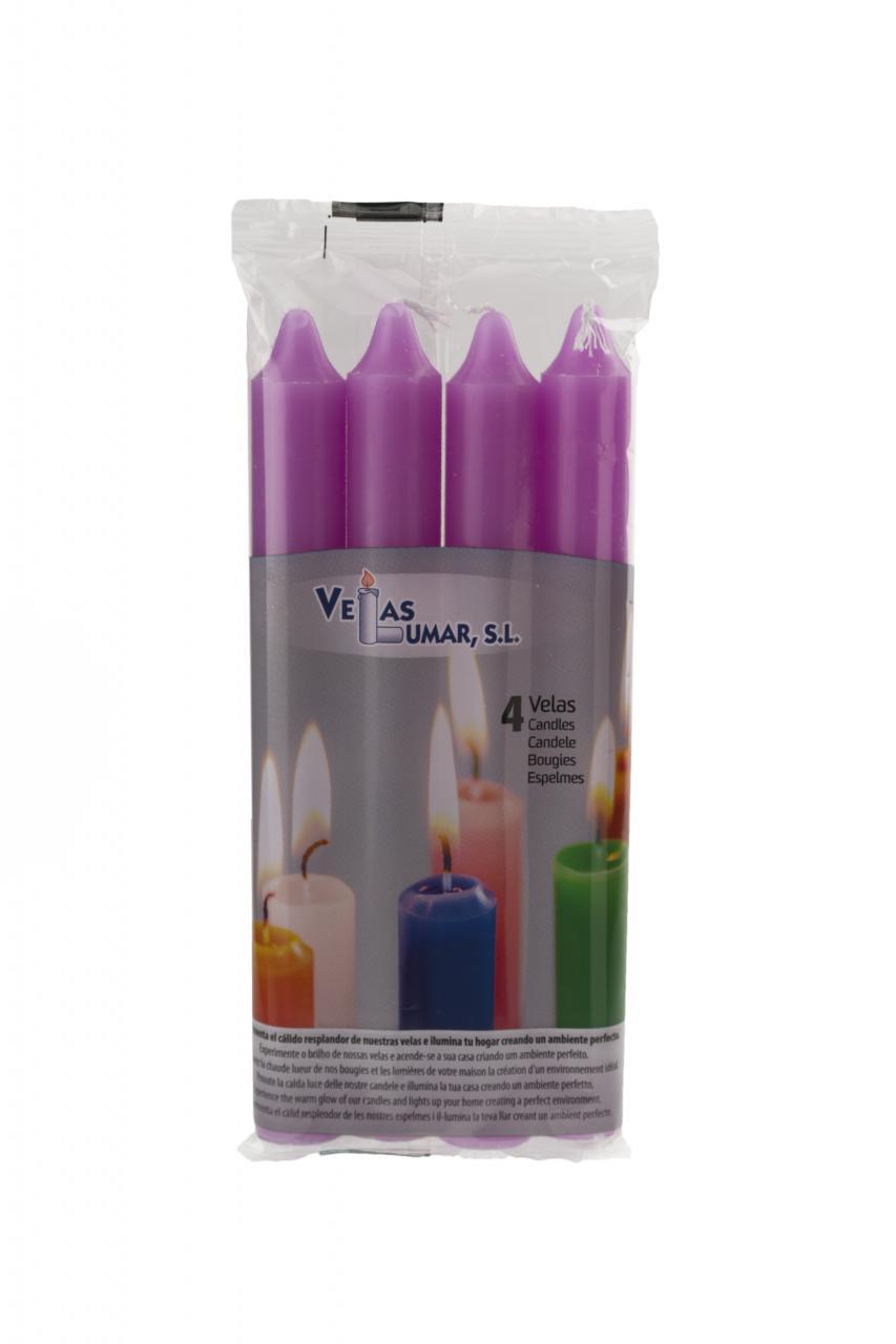 Velas Cilindrica, Pack 4 - 175x20 mm VIOLETA