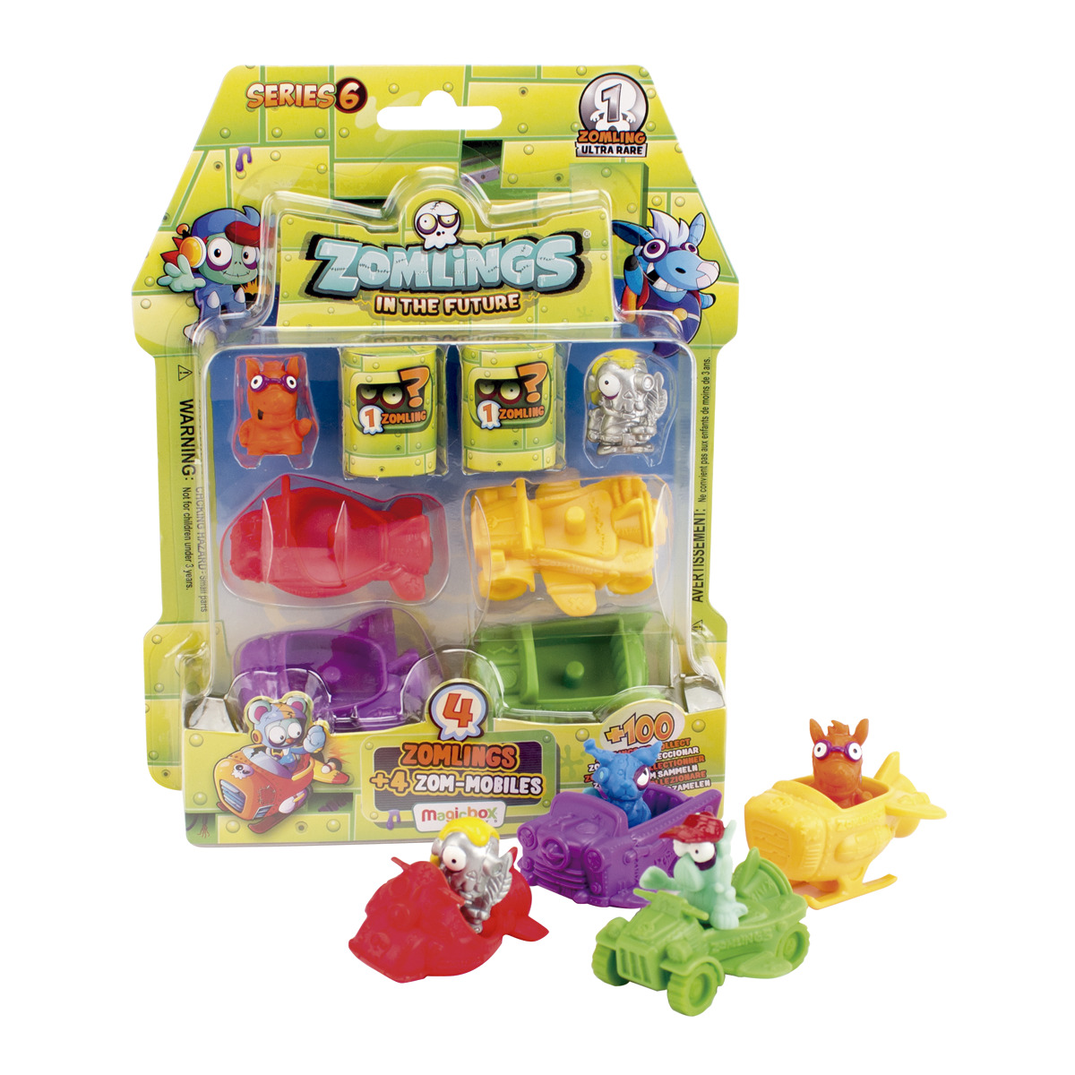 Pack 4 Zomlings + 4 Zom-mobile, serie 6