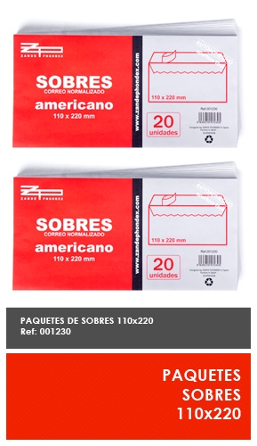 SOBRES CORREO NORMALIZADO x20uni  120 X 176mm