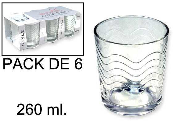 VASOS CRISTAL BALI 260 ml  - 6 UNIDADES