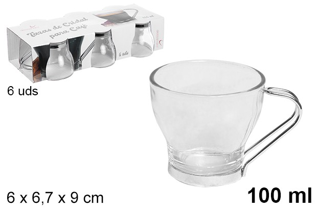 Taza cristal pack 6 cafe asa metal 100ml
