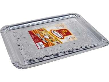 BANDEJA CARTON RECTANGULAR +BLONDA 25X34cm PLATA
