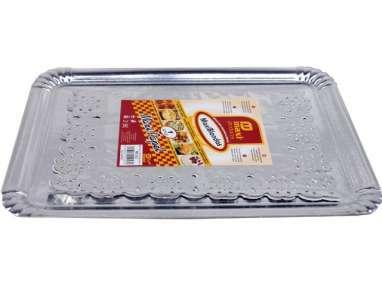 BANDEJA CARTON RECTANGULAR PLATA + BLONDA 31 x 38cm