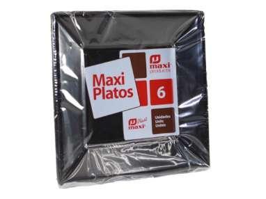 PLATO PLASTICO NEGRO 17cm x 6uni.