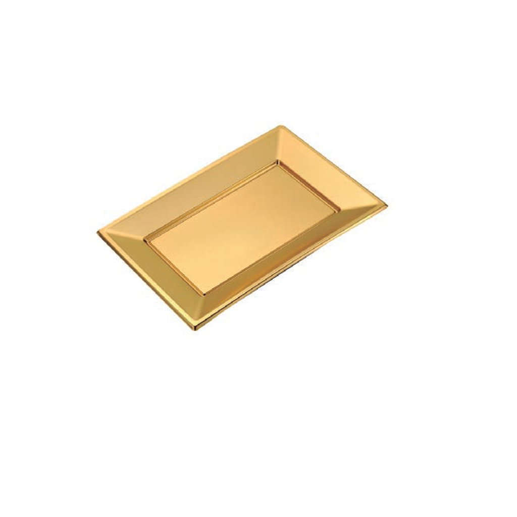 BANDEJA PLASTICO RECTANGULAR DORADA 330x225mm x2uni.