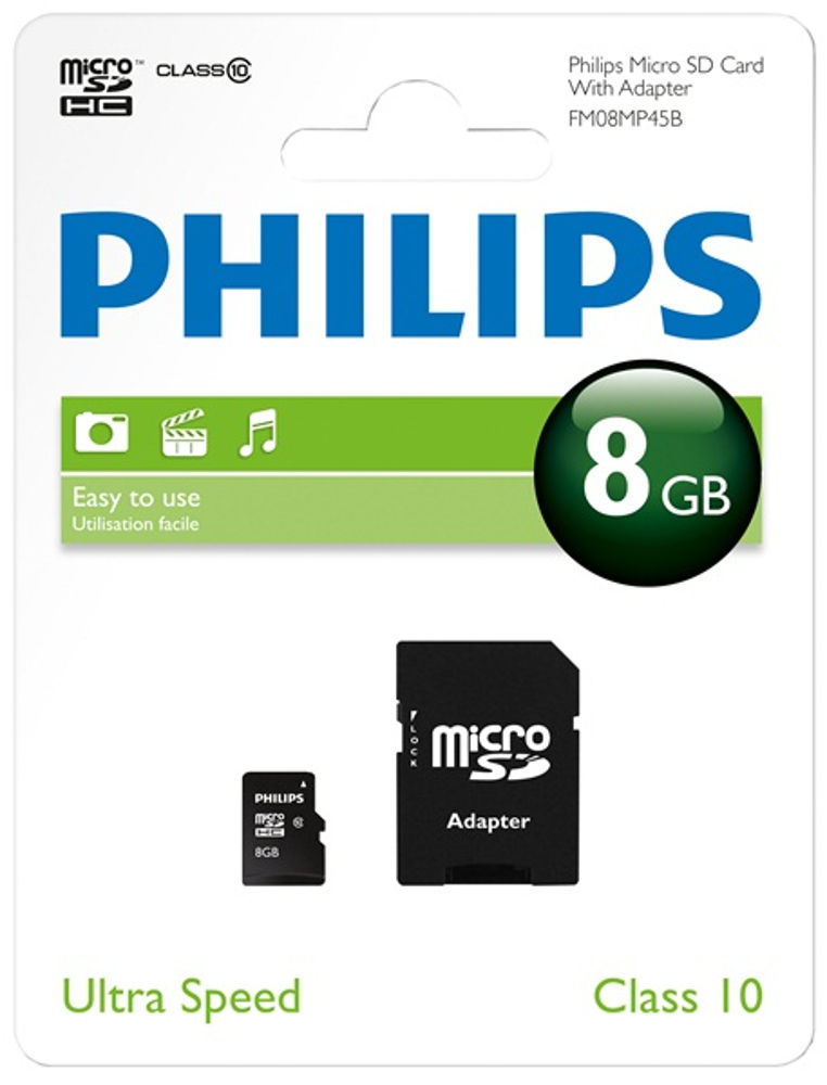 Philips Micro SDHC Card 8GB +adaptador