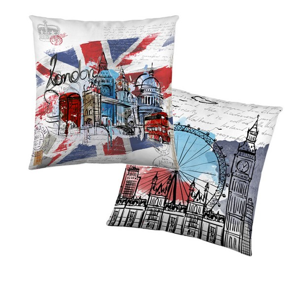Cojin Reversible London Graphic