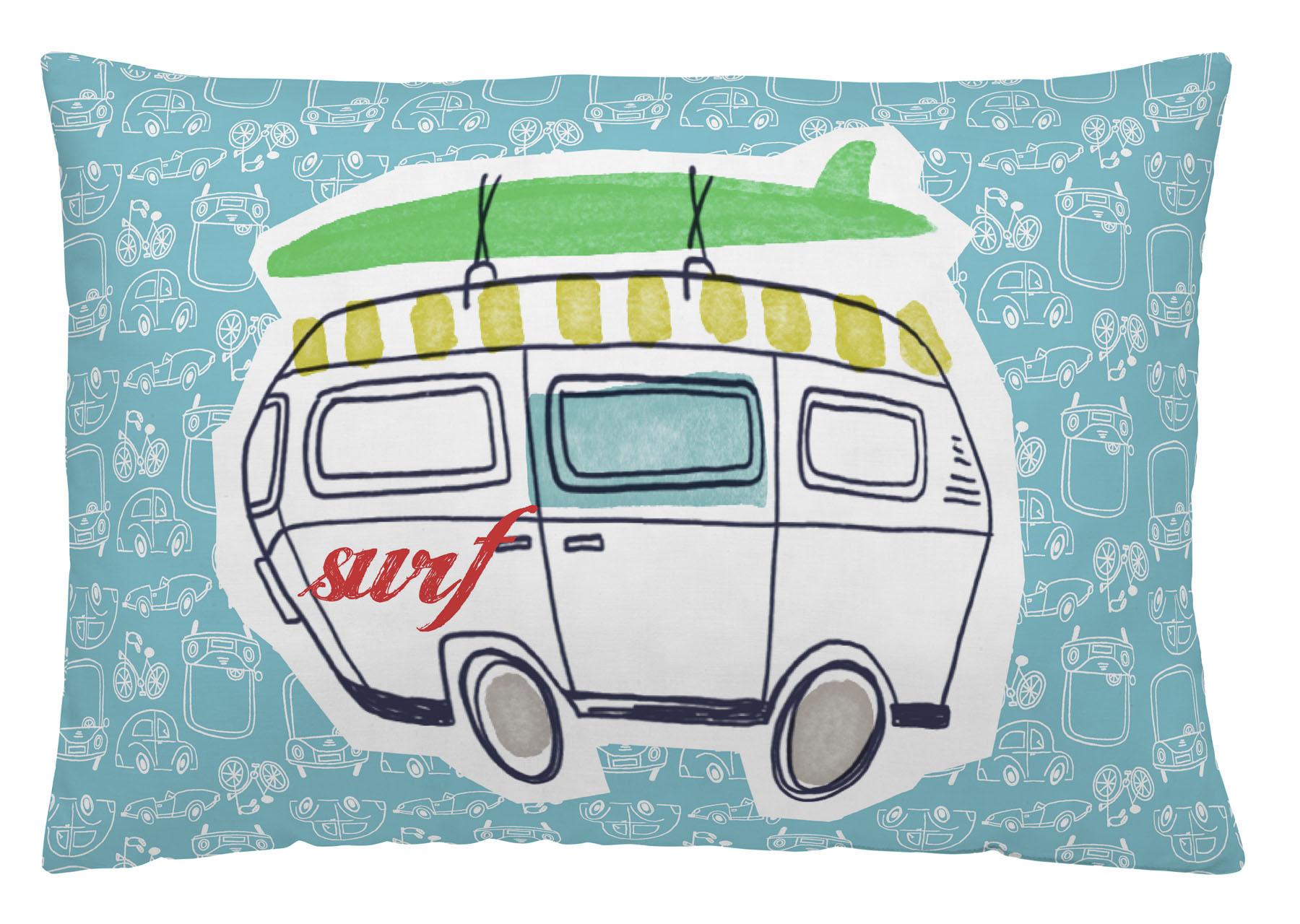 COJIN REVERSIBLE CARS SURF 30x50cm-con relleno