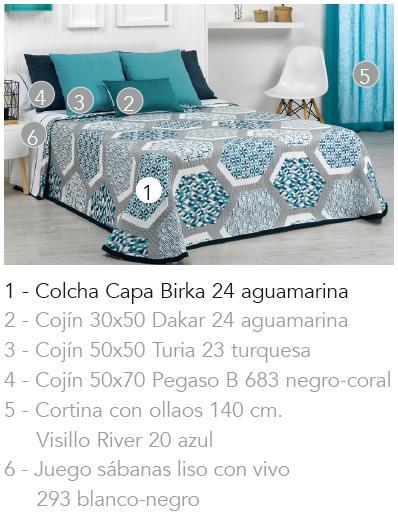 COLCHA CAPA BIRKA 24 - aguamarina 90 cms