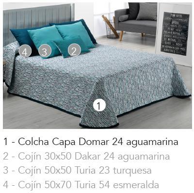 COLCHA CAPA DOMAR 24 - aguamarina 90 cms