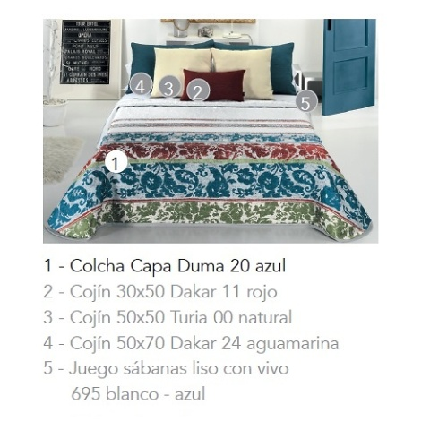 COLCHA CAPA DUMA 20 - azul 90 cms