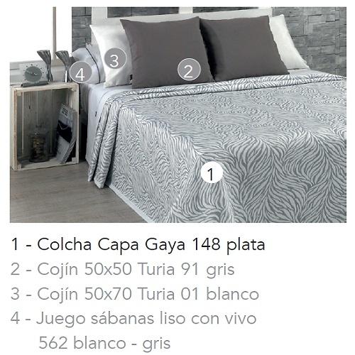 COLCHA CAPA GAYA 148 - PLATA 90 cms