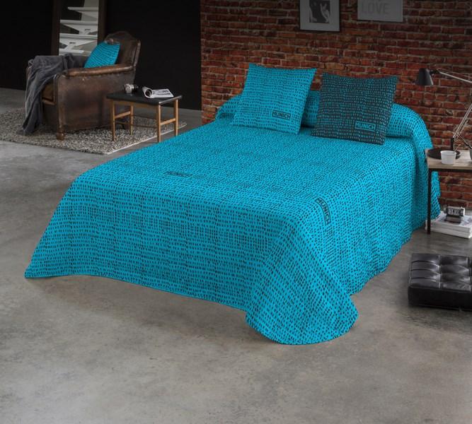 COLCHA BOUTI OSAKA BLUE REVERSIBLE 180 cms 150 cms