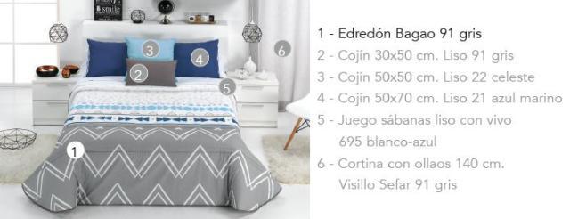 EDREDON BAGAO A 91 gris 90 cms