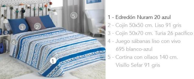 EDREDON NURAM 20 AZUL 90 cms