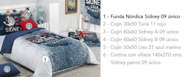 FUNDA NORDICA SIDNEY 09 UNICO 90 cms