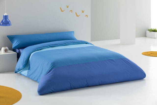 JUEGO DE FUNDAS NÓRDICAS TRICOLOR turquesa - azul - azulon 150 cms