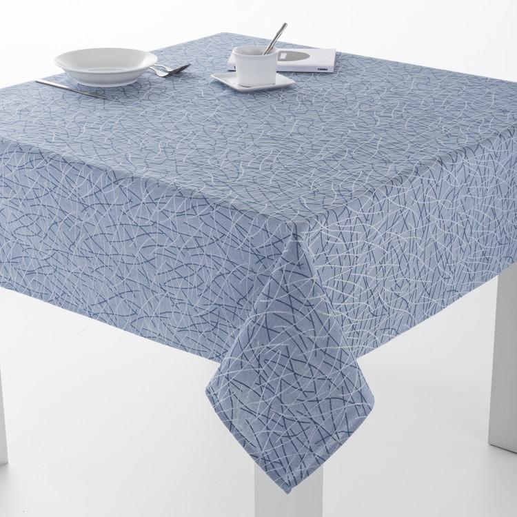 MANTELERIA BURGOS RESINADO Azul 140x300cm Azul 140x250cm Azul 140x200cm Azul 140x140cm Azul 100x140cm