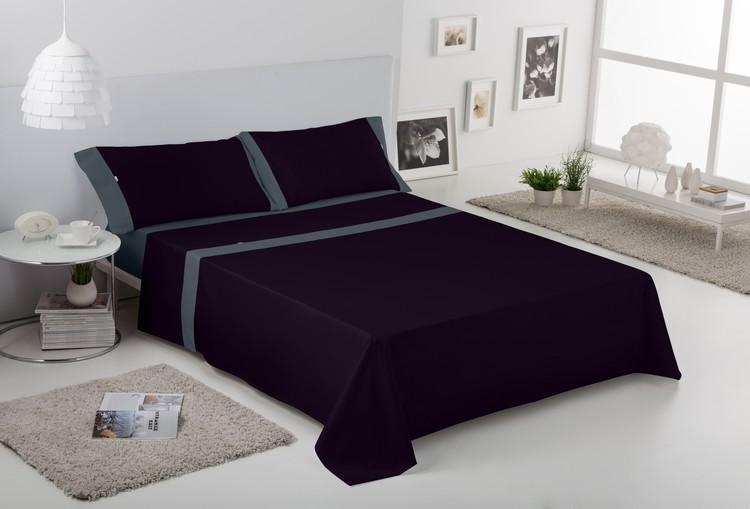JUEGO DE SÁBANAS LISOS APLIQUE Negro con aplique en gris 90 cms